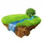 idyllische Naturlandschaft. Rasen mit Fluss, Wasserfall und einen Baum. Phantasie-Insel in der Luft isoliert. detaillierte Boden in der Base. Konzept der Erfolg und Glück, idyllischen ökologischen Lebensstil. Serie — Stockfoto