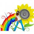 Happy young music fan — Stock Photo #9600859