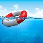 Help! Ring-buoy underwater — Stock Photo