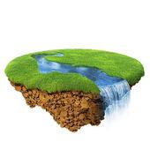 Rio com quedas do pequeno planeta mágico. pedaço de terra no ar. conceito de sucesso e felicidade, estilo de vida ecológico idílico. um de uma série — Foto Stock
