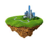 Eco city concept. Cityscape on a lawn. Fancy island in the air isolated. Detailed ground in the base. Concept of success and happiness, idyllic modern harmony lifestyle. — Foto de Stock