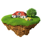 Life of a dream. Lawn with house, river, waterfall, tree and sports car. Fancy island in the air isolated. Detailed ground in the base. Concept of success and happiness, idyllic ecological lifestyle. — Stock Photo