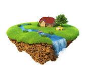 Hayat bir rüya. house, nehir, şelale, ağaç ve spor araba ile çim. fantezi adası hava izole. detaylı toprak base. başarı ve mutluluk, pastoral ekolojik yaşam kavramı. — Stok fotoğraf