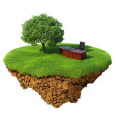 Lawn with tree, office table and chair on the little fine island - planet. A piece of land in the air. Detailed ground in the base — Stock Photo