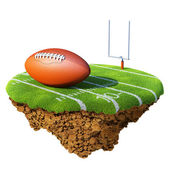 American football field, goal and ball based on little planet. Concept for football - rugby team or competition design — Stock Photo