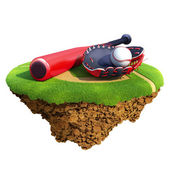 Baseball bat, glove (catcher's mitt) and ball based on little planet. Concept for baseball team or competition design — Stock Photo
