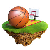 Basketball ball, backboard, hoop and court based on little planet. Concept for Basketball team or competition design — Stock Photo