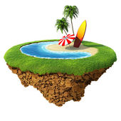 Surf on little planet. Concept for travel, holiday, hotel, spa, resort design. Tiny island - planet collection. — Stock Photo