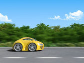 Yellow sportcar on the road (3D render of Funny sportcar racing on the tropic island road) — Stock Photo
