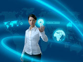 Future business solutions businesswoman in interface — Stock Photo