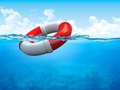 Hjälp! ring-boj under vattnet — Stockfoto