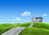 7000px nature collection - House on green meadow — Stock Photo