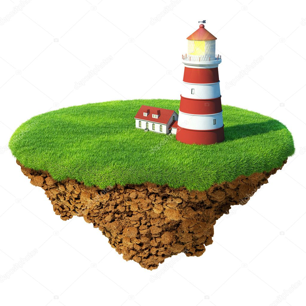 Lighthouse on the island. Detailed ground in the base. Concept of success and happiness, idyllic ecological lifestyle. — Stockfoto #9600449