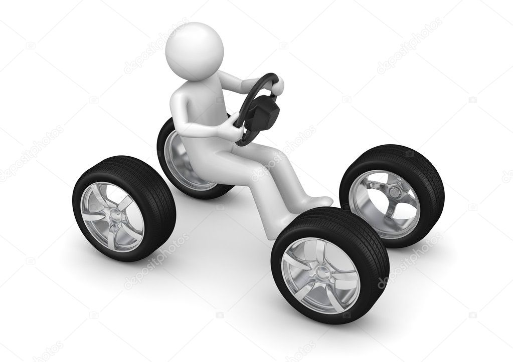 Man driving imaginary car (3d isolated on white background characters series) — Stock Photo #9600579