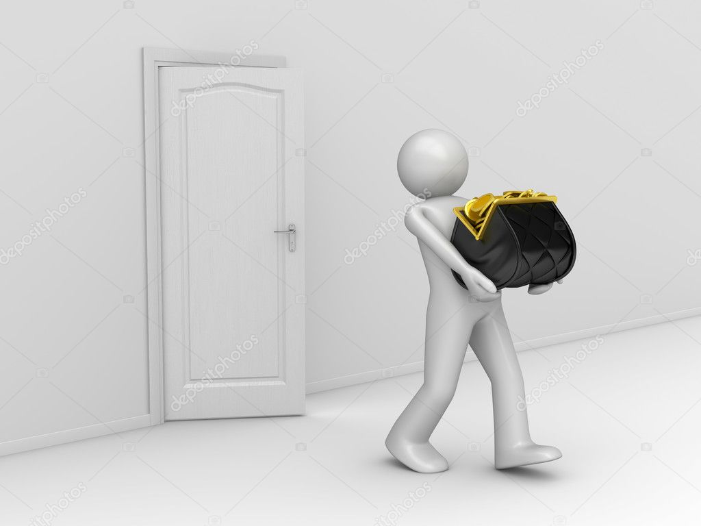 Taking Money Away (Man carries away purse full of coins)  Stock Photo #9600659