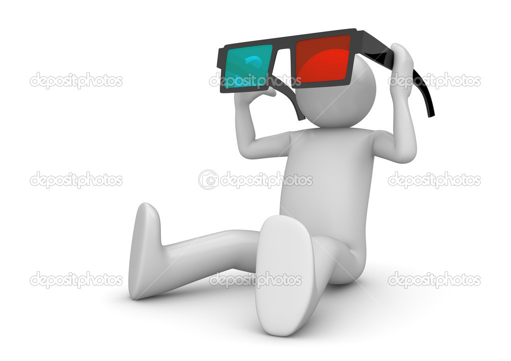 Character wearing 3d stereo anaglyph glasses. Cinema visitor. Isolated. One of a 1000 plus 3d characters series — Stock Photo #9600701
