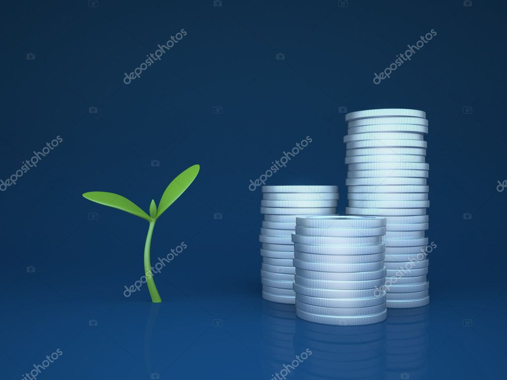 Growing funds - investments (3d simple business concepts and metaphors series) — Stock Photo #9600760