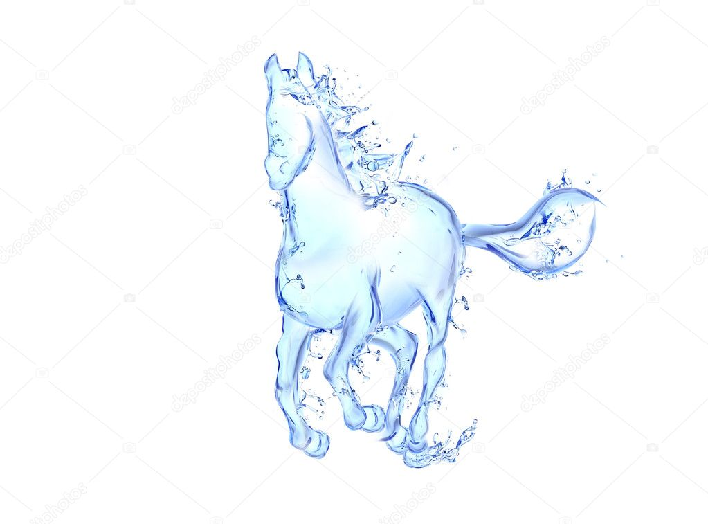 Galloping horse liquid artwork - Animal figure in motion made of water with falling drops  Stock Photo #9601014