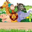 Animal cartoon and signboard - Image vectorielle
