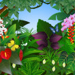 Tropical forest background - Stock Vector