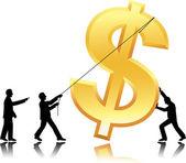Travail d'équipe avec monnaie dollar — Vecteur