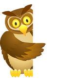 Owl cartoon and blank sign — Stock Vector