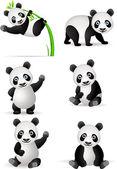 Funny panda cartoon collection — Stock Vector