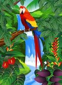 Macaw bid in the beautiful forest — Vecteur