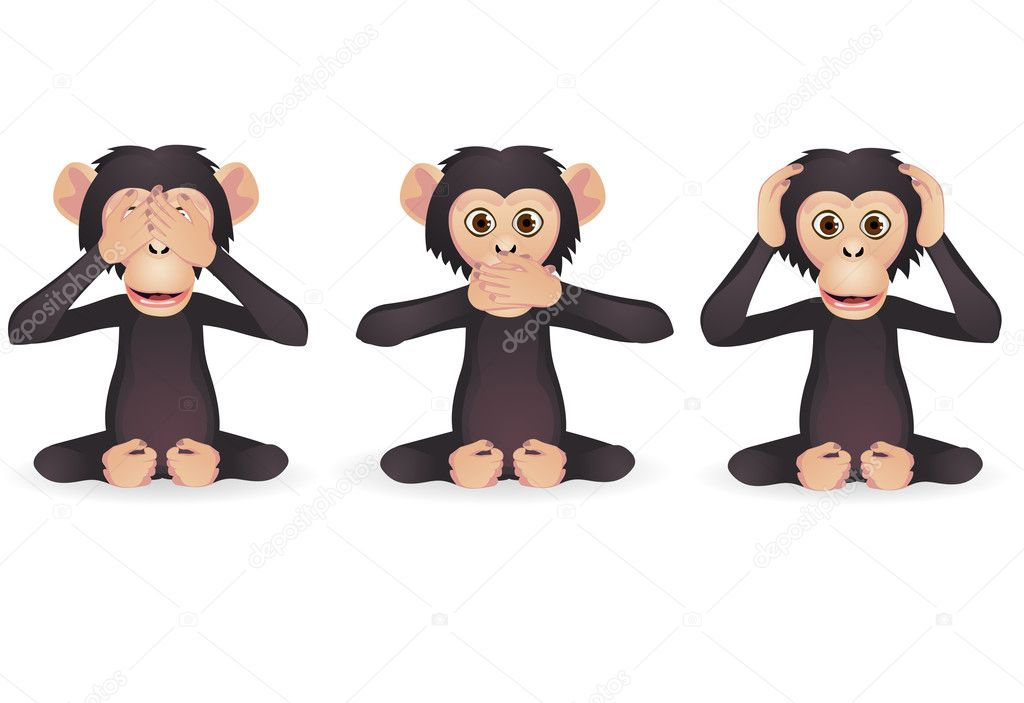 Vector illustration of tree wise monkey — Stock vektor #8579171