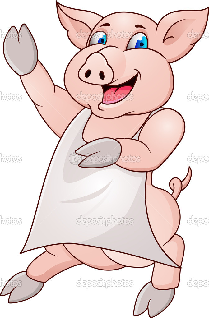 Vector illustration of pig wearing apron — Stock Vector #8744584