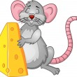 Funny rat with cheese — Stock Vector
