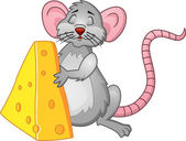 Komik fare peyniri ile — Stok Vektör