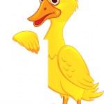 Duck Cartoon With Blank Sign — Stock Vector