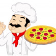 Chef With Pizza — Stock Vector