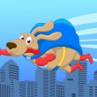 Stock Vector: Super dog flying over city
