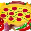 Pizza with Cheese, Fresh vegetables and spices — Imagen vectorial
