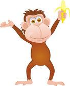 Funny cartoon monkey with banana — Stock Vector