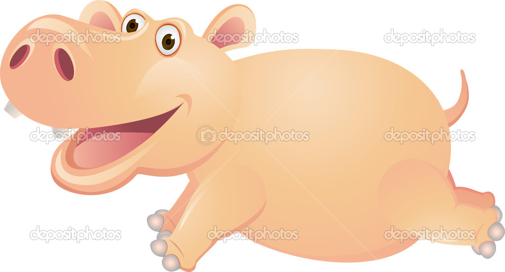 Hippo cartoon running — stock vector dagadu