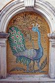 Mozaika pávice v klášteře na ostrově zakynthos — Stock fotografie