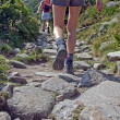 Stock Photo: Shoes on trail walking in mountains