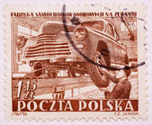 Stamp printed in Poland shows car manufactory — Foto Stock