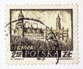 Stamp printed in Poland shows medieval town Legnica — Stock Photo