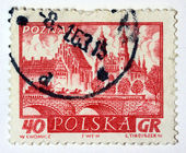 Stamp printed in Poland shows medieval town Poznan — Stock Photo