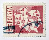 Sello impreso en polonia muestra mapa turístico de polonia — Foto de Stock
