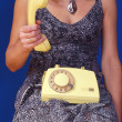 Girl with yellow telephone set — Stock Photo