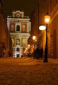 Baroque facade of church in Poznan by night — Fotografia Stock