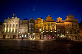 Old Market and moon in Poznan — Stock Photo