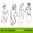 Stock Photo: Set of illustrated elegant stylized fashion models