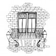 Illustration of old brick wall with balcony — Stock Photo