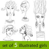 Set of illustrated cute abstract girls — Stock Photo